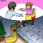2girls bangs bed bedroom brown_eyes brown_hair christmas_stocking christmas_tree commentary dreaming eyebrows_visible_through_hair girls_und_panzer indoors kogane_(staygold) long_sleeves looking_at_another lowres lying multiple_girls nishizumi_maho nishizumi_miho on_back open_mouth outstretched_arms purple_sweater short_hair siblings sisters smile standing sweater thought_bubble twitter_username white_sweater