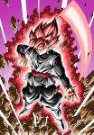 1boy aura belt black_pants black_shirt boots debris destruction dougi dragon_ball dragon_ball_super earrings energy energy_weapon evil_grin evil_smile floating full_body gokuu_black green_earrings grey_eyes grin highres jewelry long_sleeves looking_at_viewer male_focus pants pink_hair potara_earrings purple_background red_belt ring scythe shirt single_earring smile solo spiky_hair super_saiyan_rose toriyama_akira_(style) white_footwear youngjijii