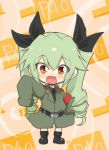 1girl :d anchovy anzio_military_uniform bangs belt black_belt black_footwear black_neckwear black_shirt blush_stickers boots box cardboard_box child commentary dress_shirt drill_hair eyebrows_visible_through_hair full_body girls_und_panzer green_hair grey_jacket hand_on_hip highres jacket jinguu_(4839ms) long_hair long_sleeves looking_at_viewer military military_uniform necktie open_mouth orange_background oversized_clothes red_eyes shirt sleeves_past_wrists smile solo standing twin_drills twintails uniform waving younger