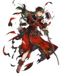 1girl armor arrow belt boots bow_(weapon) brown_footwear clenched_teeth fingerless_gloves fire_emblem fire_emblem:_fuuin_no_tsurugi fire_emblem_heroes full_body gloves green_eyes green_hair headband highres holding holding_bow_(weapon) holding_weapon leg_up long_hair mayo_(becky2006) nintendo official_art pants parted_lips quiver short_sleeves shoulder_armor solo sue_(fire_emblem) teeth torn_clothes transparent_background weapon