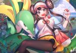 1girl :d bag ball black_eyes blush breasts brown_hair brown_legwear building creatures_(company) day double_bun game_freak gen_5_pokemon hand_up holding holding_ball holding_poke_ball kuri_choko large_breasts leaf long_hair long_sleeves looking_at_viewer mei_(pokemon) midriff miniskirt nature navel nintendo open_mouth outdoors pantyhose plant poke_ball poke_ball_(generic) pokemon pokemon_(creature) pokemon_(game) pokemon_bw2 raglan_sleeves serperior shirt shoulder_bag sidelocks signature skirt sky smile sparkle thighband_pantyhose tree twintails visor_cap watch watch white_shirt yellow_skirt