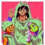 +++ 1girl 2boys bah_(dragon_ball) bah_(dragon_ball)_(cosplay) black_eyes black_hair border broly_(dragon_ball_super) cheelai clenched_teeth commentary_request cosplay dragon_ball dragon_ball_super_broly fingernails gloves green_hat green_jacket grin hat height_difference hood hood_down hood_up hooded_jacket jacket lemo_(dragon_ball) looking_at_another looking_up multiple_boys open_mouth pink_background pointing pointing_at_self profile scar sharp_teeth signature simple_background sleeveless sleeveless_jacket smile teeth toraiaruka v violet_eyes white_border white_gloves white_hair wristband
