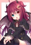1girl :o absurdres ahoge black_dress black_legwear blue_eyes blush capelet commentary crescent crescent_hair_ornament demon_girl demon_horns demon_wings dress fang frilled_dress frills hair_ornament hands_together heterochromia highres horns long_hair looking_at_viewer nijisanji red_eyes redhead short_dress sitting solo thigh-highs thighs two_side_up virtual_youtuber wakagi_repa wings yuzuki_roa zettai_ryouiki