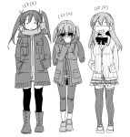 3girls adjusting_eyewear alternate_costume arm_grab bangs boots bow bowtie closed_eyes coat commentary_request cross-laced_footwear eyebrows_visible_through_hair frilled_skirt frills full_body greyscale grin hair_between_eyes hair_ornament hair_ribbon hairclip hands_in_pockets highres jacket kantai_collection lace-up_boots loafers long_hair looking_at_viewer medium_hair monochrome multiple_girls pants pleated_skirt ribbon sanpachishiki_(gyokusai-jima) scarf sendai_(kantai_collection) shoes simple_background skirt smile standing striped striped_legwear sunglasses suzuya_(kantai_collection) sweater sweater_vest teeth thigh-highs twintails two_side_up v-shaped_eyebrows vertical-striped_legwear vertical_stripes white_background zuikaku_(kantai_collection)