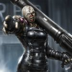 1girl bald bald_girl bodysuit breasts fingerless_gloves genderswap genderswap_(mtf) gloves grey_eyes highres holding holding_weapon huge_weapon large_breasts leather misawa_kei monster_girl nemesis no_pupils one-eyed reaching_out resident_evil resident_evil_3 signature skin_tight solo standing stitches weapon zombie