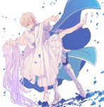 1boy 1girl armor armored_boots bcoca blonde_hair blue_cape blue_eyes blue_flower blue_petals blue_rose boots breasts cape closed_eyes closed_mouth collarbone commentary_request dancing dress eugeo flower hair_ornament hand_on_hip highres knight lavender_hair long_hair medium_breasts open_mouth petals quinella rose short_hair simple_background smile sword_art_online sword_art_online_alicization white_background white_dress