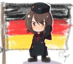 1girl :3 alternate_emblem artist_name bangs black_hat black_jacket blush_stickers brown_eyes brown_hair child closed_mouth commentary crayon dated dress_shirt eyebrows_visible_through_hair eyes_visible_through_hair faux_traditional_media flag_background full_body garrison_cap german_flag girls_und_panzer hat highres jacket jinguu_(4839ms) kuromorimine_military_uniform long_sleeves looking_at_viewer military military_hat military_uniform nishizumi_maho red_shirt red_skirt shirt short_hair signature skirt smile solo standing uniform waving younger