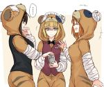 +++ ... 3girls animal_costume bandage bangs bartender bear_costume bear_hood beige_background black_jacket black_neckwear blonde_hair blunt_bangs boko_(girls_und_panzer) bow bowtie brown_hair brown_vest closed_mouth cocktail_shaker commentary constricted_pupils cutlass_(girls_und_panzer) eyebrows_visible_through_hair eyepatch frown girls_und_panzer gloom_(expression) hand_on_own_chin handkerchief holding jacket kuromorimine_military_uniform long_sleeves looking_at_another maid_headdress motion_lines multiple_girls nishizumi_maho nishizumi_miho open_mouth outside_border parted_bangs short_hair smile spoken_ellipsis sweatdrop vest yellow_eyes yuuyu_(777)