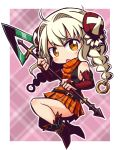 1girl :o bangs bare_shoulders black_shirt blush boots braid bridal_gauntlets brown_eyes bun_cover commentary_request double_bun dress eyebrows_visible_through_hair full_body hair_intakes hair_ornament highlander_(sekaiju) holding holding_spear holding_weapon long_hair looking_at_viewer naga_u orange_dress orange_scarf parted_lips plaid plaid_background plaid_dress plaid_scarf pleated_dress polearm red_footwear scarf sekaiju_no_meikyuu shin_sekaiju_no_meikyuu shirt side_bun solo spear twin_braids two-handed upper_teeth v-shaped_eyebrows weapon