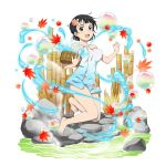 1girl :d animal_print autumn_leaves bamboo barefoot basket black_eyes black_hat blue_towel breasts bubble collarbone fish_hair_ornament fish_print full_body hair_ornament hat highres holding holding_basket kirigaya_suguha leaf looking_at_viewer maple_leaf medium_breasts naked_towel official_art onsen open_mouth print_towel short_hair smile solo sparkle sword_art_online towel transparent_background water