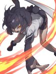 1girl animal_ears attack attacking_viewer bangs bare_legs bear_ears bear_tail bike_shorts black_hair brown_bear_(kemono_friends) commentary_request fangs fingerless_gloves fingernails fire foreshortening fur-trimmed_footwear fur_trim gloves glowing glowing_eyes grey_hair hair_between_eyes highres kemono_friends leaning_forward looking_at_viewer medium_hair microskirt multicolored_hair okojo_ojoko open_mouth outstretched_arms outstretched_hand red_eyes shirt shoes short_sleeves shorts shorts_under_skirt simple_background skirt solo spread_arms spread_fingers standing tail two-tone_hair v-shaped_eyebrows white_background