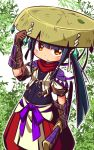 1girl arm_up bangs black_hair blush brown_eyes brown_gloves brown_hat closed_mouth commentary_request copyright_request crystal elbow_gloves gloves hand_on_headwear hat holding holding_sheath jacket katana leaf long_hair looking_at_viewer naga_u pants puffy_pants red_pants sheath sheathed short_sleeves sidelocks solo sword very_long_hair weapon white_background white_jacket
