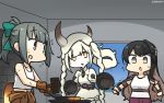 3girls abyssal_nimbus_hime anvil black_hair bow braid brown_eyes commentary_request cowboy_shot dated frying_pan furnace gloves grey_hair hair_bow hammer hamu_koutarou highres horns jumpsuit jumpsuit_around_waist kantai_collection long_hair long_sleeves multicolored_hair multiple_girls naganami_(kantai_collection) orange_jumpsuit pink_hair ponytail shinkaisei-kan sidelocks sweat twin_braids twintails two-tone_hair undershirt wavy_hair white_hair yuubari_(kantai_collection)