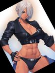 1girl abs angel_(kof) belt black_panties blue_eyes breasts chaps cleavage cowboy_shot cropped_jacket fingerless_gloves gloves hair_over_one_eye hand_on_hip highres jacket leather looking_at_viewer midriff navel ogami panties revealing_clothes short_hair silver_hair simple_background solo standing the_king_of_fighters toned underwear zipper