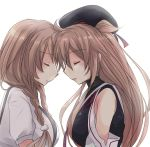 2girls asymmetrical_clothes beret black_hat black_serafuku braid breasts closed_eyes closed_mouth cloud_hair_ornament eyebrows_visible_through_hair face-to-face forehead-to-forehead from_side gradient_hair hat hirune_(konekonelkk) kantai_collection light_brown_hair long_hair minegumo_(kantai_collection) multicolored_hair multiple_girls murasame_(kantai_collection) neckerchief profile red_neckwear remodel_(kantai_collection) sailor_collar school_uniform serafuku shirt short_sleeves simple_background suspenders twin_braids twintails two_side_up upper_body white_background white_sailor_collar white_shirt
