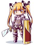 >:) 1girl 7th_dragon 7th_dragon_(series) armored_boots bangs belt belt_buckle berich_(7th_dragon) blonde_hair blush boots bow breastplate buckle checkered checkered_bow closed_mouth commentary_request eyebrows_visible_through_hair full_body gauntlets hair_bow holding holding_sword holding_weapon long_hair naga_u orange_eyes shadow shield smile solo standing sword twintails twintails_day v-shaped_eyebrows very_long_hair weapon white_background