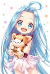 1girl :d ahoge bangs bare_shoulders blue_eyes blue_hair blush child choker commentary_request dress forehead granblue_fantasy highres long_hair looking_at_viewer lyria_(granblue_fantasy) object_hug open_mouth parted_bangs round_teeth see-through sleeveless sleeveless_dress smile solo stuffed_animal stuffed_toy teeth tomo_(user_hes4085) upper_teeth vee_(granblue_fantasy) very_long_hair white_background white_choker white_dress younger