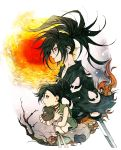 1boy 1girl bag bandage bandaged_arm bandages bare_shoulders black_eyes black_hair body_parts branch brown_choker brown_gloves choker dororo_(character) dororo_(tezuka) fingerless_gloves fuji_166 gloves highres holding hyakkimaru_(dororo) japanese_clothes looking_to_the_side medium_hair sun sword tied_hair upper_body weapon
