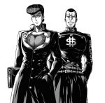 2boys a4typhoon adapted_uniform anchor_symbol bag belt diamond_wa_kudakenai dollar_sign gakuran greyscale hand_in_pocket hands_in_pockets heart higashikata_jousuke highres jojo_no_kimyou_na_bouken male_focus monochrome multiple_boys nijimura_okuyasu peace_symbol pompadour school_bag school_uniform white_background yen_sign