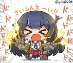 >o< 1girl agano_(kantai_collection) asimo953 asymmetrical_legwear bangs belt black_hair blush breasts cannon chibi commentary_request eyebrows_visible_through_hair firing flight_deck garter_straps gloves hair_between_eyes holding kantai_collection long_hair machinery miniskirt necktie open_mouth pleated_skirt red_skirt rigging sailor_collar school_uniform serafuku simple_background single_thighhigh skirt sleeveless smile solo standing thigh-highs turret very_long_hair white_background white_gloves