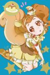 1girl :o animal_ears aqua_background arisugawa_himari ascot boots brown_eyes brown_hair cherry cure_custard dress earrings elbow_gloves extra_ears food food_themed_hair_ornament frilled_dress frills from_above fruit full_body gloves hair_ornament hairband highres jewelry kirakira_precure_a_la_mode knee_boots long_hair looking_at_viewer looking_up lower_teeth magical_girl open_mouth precure pudding raised_eyebrows seiza shipu_(gassyumaron) side_ponytail signature simple_background sitting solo speech_bubble spoken_food squirrel_ears squirrel_tail star star_in_eye symbol_in_eye tail whipped_cream white_gloves