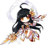 1girl absurdres ahoge apsara_(elsword) ara_han bare_legs bare_shoulders black_hair chibi elsword hair_ornament high_heels highres holding holding_spear holding_weapon legs_together long_hair looking_at_viewer official_art orange_eyes pleated_skirt polearm puffy_sleeves red_eyeshadow sash shirt skirt smile solo spear weapon white_background white_footwear white_shirt