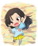 1girl :d arm_up asymmetrical_bangs bangs blouse blue_blouse blurry blurry_background blush_stickers brown_eyes brown_hair camouflage_background child clenched_hands commentary eyebrows_visible_through_hair eyes_visible_through_hair full_body girls_und_panzer grey_legwear highres jinguu_(4839ms) kindergarten_uniform leg_up long_hair looking_at_viewer miniskirt nishi_kinuyo open_mouth pleated_skirt raised_fist shoes short_sleeves skirt smile solo standing standing_on_one_leg thigh-highs v-shaped_eyebrows white_footwear yellow_skirt younger
