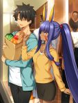 1boy 1girl animal_ears any_(trueblue) apple bag black_hair black_pants black_skirt blue_eyes blue_jacket blush bread breasts casual closed_eyes collarbone commentary_request dark_skin eyebrows_visible_through_hair facial_mark fate/grand_order fate_(series) food fruit fujimaru_ritsuka_(male) hair_between_eyes hair_ribbon holding jackal_ears jacket long_hair medium_breasts nitocris_(fate/grand_order) open_clothes open_mouth orange pants paper_bag ponytail purple_hair red_ribbon ribbon shirt skirt spiky_hair white_shirt