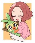 1girl 1other :d atlus blush brown_eyes brown_hair chibi chimpanzee closed_eyes commentary_request creatures_(company) cute do_m_kaeru game_freak gen_8_pokemon grookey hug megami_tensei moe nintendo okumura_haru open_mouth persona persona_5 pink_sweater pokemon pokemon_(creature) pokemon_(game) pokemon_swsh ribbed_sweater short_hair smile super_smash_bros. sweater twitter_username