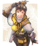 1girl adjusting_goggles arm_at_side bangs belt belt_buckle black_gloves blue_eyes book breasts brown_belt brown_hair brown_ribbon buckle capelet cowboy_shot dress feathers fingerless_gloves gloves goggles goggles_on_head grin hand_up handler_(monster_hunter_world) highres kuroimori large_breasts legs_together looking_at_viewer monster_hunter monster_hunter:_world ribbon short_dress smile solo teeth turtleneck white_capelet yellow_dress