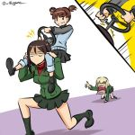 /\/\/\ 3girls ankle_boots arm_support bangs black_footwear black_hair black_legwear black_skirt blank_eyes blonde_hair blue_jacket blue_pants blue_skirt boots brown_eyes brown_hair carrying commentary emblem eyebrows_visible_through_hair frown girls_und_panzer green_jacket grin jacket katyusha kneeling kogane_(staygold) loafers long_hair long_sleeves lowres mikko_(girls_und_panzer) military military_uniform mind_control miniskirt motion_lines multiple_girls no_eyes no_mouth nonna open_mouth outstretched_arm pants pants_rolled_up pants_under_skirt pleated_skirt pravda_school_uniform raglan_sleeves red_shirt riding school_uniform shadow shirt shoes short_hair short_twintails shoulder_carry skirt smile socks standing steering_wheel swept_bangs track_jacket track_pants turtleneck twintails twitter_username uniform walking