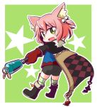 1girl 7th_dragon 7th_dragon_(series) :d animal_ear_fluff animal_ears ass bangs black_footwear black_shorts blue_jacket blush cape cat_ears checkered checkered_cape commentary_request eyebrows_visible_through_hair fang full_body gloves green_background green_eyes hair_between_eyes hair_bobbles hair_ornament harukara_(7th_dragon) holding jacket long_sleeves looking_at_viewer looking_to_the_side naga_u one_side_up open_mouth outline pink_hair red_gloves short_shorts shorts smile solo star striped striped_legwear thigh-highs thighhighs_under_boots two-tone_background white_background white_outline