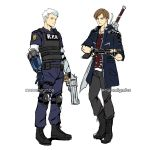 2boys blonde_hair blue_eyes brown_hair capcom claws company_connection cosplay costume_switch devil_may_cry devil_may_cry_5 fingerless_gloves full_body gloves gun handgun highres jacket leon_s_kennedy male_focus multiple_boys naomig nero_(devil_may_cry) police police_uniform resident_evil resident_evil_2 short_hair sword uniform weapon white_hair