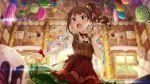 balloons blush brown_hair dress idolamster idolmaster_million_live! idolmaster_million_live!_theater_days long_hair side_ponytail violet_eyes yokoyama_nao