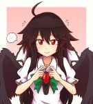 1girl ahoge bangs black_hair black_wings blush border bow bowtie breasts commentary commission english_commentary eyebrows_visible_through_hair feathered_wings fingers_together flying_sweatdrops green_bow green_neckwear hair_between_eyes large_breasts long_hair looking_at_viewer outside_border pink_background puffy_short_sleeves puffy_sleeves red_eyes reiuji_utsuho shirt short_sleeves sidelocks simple_background smile solo spoken_blush touhou upper_body very_long_hair white_border white_shirt wings wool_(miwol)