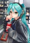 1girl aqua_hair black_jacket cafe can cassette_player coca-cola commentary_request counter drinking drinking_straw green_eyes hair_between_eyes hatsune_miku headphones highres hood hood_down hooded_jacket jacket listening_to_music long_hair long_sleeves looking_at_viewer shelf soda_can solo sony takepon1123 twintails upper_body vocaloid walkman