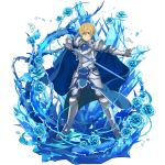1boy armor armored_boots black_pants blonde_hair blue_eyes blue_flower blue_rose blue_rose_sword boots eugeo faulds flower full_body gauntlets hair_between_eyes highres holding holding_sword holding_weapon looking_at_viewer male_focus official_art pants plant rose shoulder_armor solo spaulders sword sword_art_online transparent_background vines weapon