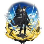 1boy aincrad belt black_cape black_eyes black_hair black_pants black_shirt cape collarbone dual_wielding highres holding holding_sword holding_weapon kirito looking_at_viewer male_focus official_art pants shirt solo sword sword_art_online transparent_background weapon
