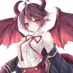 1girl ahoge artist_name bangs black_jacket blush center_frills closed_mouth commentary dragon_girl dragon_tail dragon_wings eyebrows_visible_through_hair flower_in_eye frilled_shirt frills granblue_fantasy grea_(shingeki_no_bahamut) jacket long_sleeves manaria_friends neck_ribbon off_shoulder open_clothes open_jacket pointy_ears purple_hair purple_neckwear purple_ribbon red_eyes red_wings ribbon shingeki_no_bahamut shirt short_hair simple_background solo symbol_in_eye tail upper_body vebonbon white_background white_shirt wings