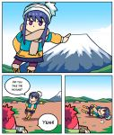 2girls bangs beanie blue_hair coat commentary day english_commentary english_text fallen_down forced_perspective fur-trimmed_boots fur_trim hat jitome kagamihara_nadeshiko leaning_to_the_side long_sleeves mount_fuji multiple_girls no_mouth outdoors phone scarf setz shima_rin tent violet_eyes yurucamp
