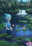 1girl bangs blue_bow blue_dress blue_eyes blue_hair blue_sky bow breasts cirno commentary_request day dress eyebrows_visible_through_hair flower forest from_side hair_bow highres holding holding_flower ice ice_wings lily_pad nature neck_ribbon outdoors pinafore_dress pink_flower pond profile puffy_short_sleeves puffy_sleeves red_neckwear red_ribbon ribbon ripples roke_(taikodon) shirt short_hair short_sleeves sky small_breasts solo touhou tree upper_body wading water waterfall white_shirt wings