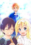 1girl 2boys age_difference alice_schuberg apron black_hair blonde_hair blue_eyes blue_pants blue_shirt closed_eyes clouds collarbone commentary_request crying crying_with_eyes_open day eugeo eyebrows_visible_through_hair green_eyes hair_between_eyes hair_ribbon hairband height_difference highres kirito long_hair multiple_boys open_eyes open_mouth pants parted_lips ribbon shi-2 shirt short_hair sky smile sword_art_online sword_art_online_alicization tears teeth