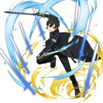 1boy black_cape black_eyes black_gloves black_hat black_pants black_shirt cape clenched_teeth dual_wielding fingerless_gloves gloves hair_between_eyes hat highres holding holding_sword holding_weapon kirito leg_up looking_at_viewer male_focus official_art pants shirt solo sword sword_art_online teeth transparent_background weapon