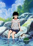 1girl 49s-aragon bangs barefoot black_hair blue_sky clouds cloudy_sky food fruit full_body original outdoors partially_submerged rock shirt shoes shoes_removed short_sleeves shorts sitting sitting_on_rock sky smile solo striped striped_shirt twintails water watermelon