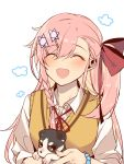 1girl :d ^_^ animal bangs bead_bracelet beads blush bow bracelet braid breasts casual closed_eyes closed_eyes collared_shirt dog eyebrows_visible_through_hair facing_viewer girls_frontline hair_between_eyes hair_bow hair_ornament hair_ribbon hairclip hexagram highres holding holding_animal jewelry jingo long_hair neck_ribbon negev_(girls_frontline) one_side_up open_mouth pink_hair red_bow ribbon shirt sidelocks simple_background sleeves_rolled_up smile solo star_of_david vest white_background white_shirt