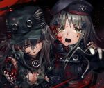 2girls aamond android bandanna beret bleeding blood blood_on_face breasts carrying cleavage closed_eyes commentary_request crying crying_with_eyes_open g11_(girls_frontline) girls_frontline goggles goggles_around_neck green_eyes hat highres hk416_(girls_frontline) injury jacket multiple_girls open_mouth silver_hair tears torn_clothes