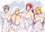 4girls :d :o animal_ears ban bare_shoulders between_breasts blonde_hair blue_eyes bow breasts brown_eyes choker circlet collarbone copyright_request covered_navel covering detached_sleeves dress elbow_gloves embarrassed eyebrows_visible_through_hair flower frills fur gloves hair_ornament hand_on_own_chest hip_vent large_breasts leaning_forward looking_at_viewer looking_to_the_side medium_breasts multiple_girls muscle muscular_female navel open_mouth ponytail puffy_sleeves red_eyes redhead rose see-through shorts side_slit sidelocks smile stomach_cutout veil wedding_dress yellow_eyes