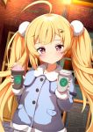 1girl ahoge ame. azur_lane bangs blonde_hair blue_jacket blush brick_wall closed_mouth coffee_cup collared_jacket commentary_request cup disposable_cup eldridge_(azur_lane) eyebrows_visible_through_hair facial_mark hair_ornament head_tilt heart heart_hair_ornament holding holding_cup jacket lamppost long_hair long_sleeves menu outdoors red_eyes sidelocks sign solo twintails upper_body very_long_hair