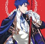 1boy 9sui alternate_costume blue_hair earrings fate/stay_night fate_(series) formal gae_bolg gloves holding holding_spear holding_weapon jewelry lancer long_hair looking_at_viewer male_focus polearm ponytail profile red_background red_eyes simple_background smile solo spear upper_body weapon white_gloves