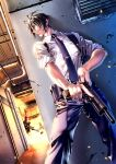 black_hair clenched_teeth cover final_fantasy final_fantasy_vii firefight formal gun highres holster magazine_(weapon) red_eyes reloading rifle short_hair sleeves_rolled_up soldier suit teeth vincent_valentine weapon yonesuke